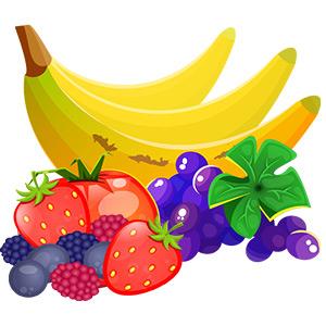 Paleo Diät - Früchte - Banane, Erdbeere, Trauben, Himbeeren Illustration