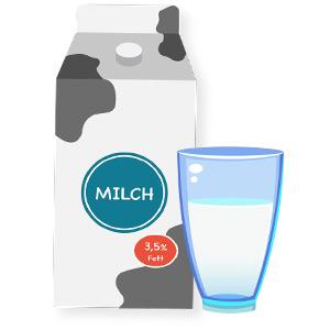 Illustration von einer Milchtüte und einem Glas
