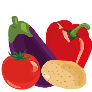 Paleo und Nachtschatten - ein Bild von Nachtschattengewächse, Paprika, Tomate, Kartoffel, Aubergine - Illustration