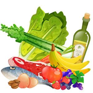 Illustration von Gemüse, Fisch, Banane, Tomate, Eier, Obst, Nüsse