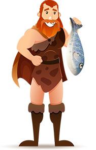 Paleo Steinzeitmensch mit Fisch in der Hand