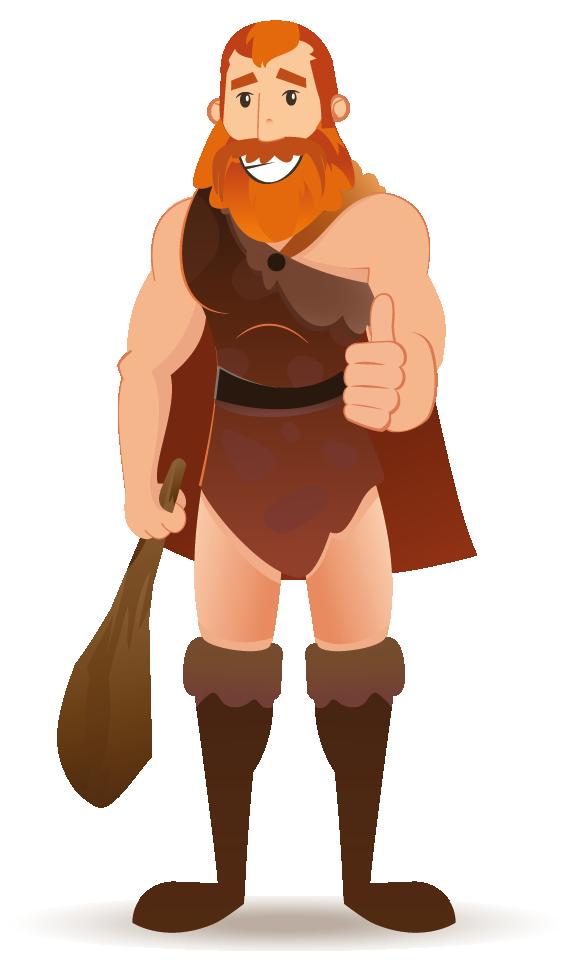 Cavemen - Der Steinzeitmensch mit Daumen nach oben